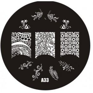 Пластина для стемпинг маникюра А33 (Корея)