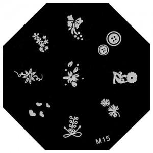 Пластина для стемпинг маникюра М15 (Корея)