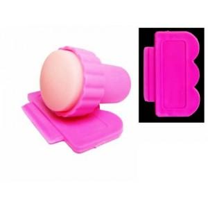 Штамп со скребком,для стемпинг маникюра, розовый (Корея)